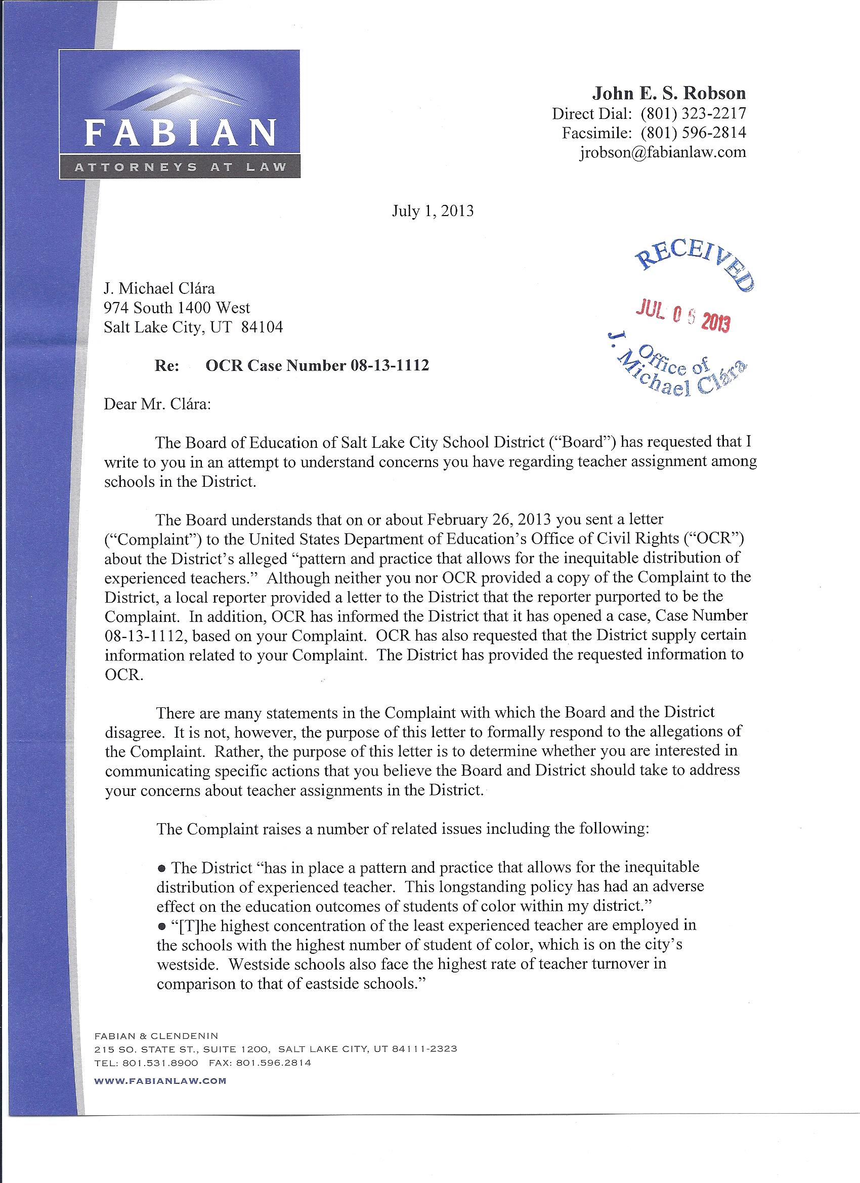 School Board Responds Via Attorney OCR Inquiry Letter Local